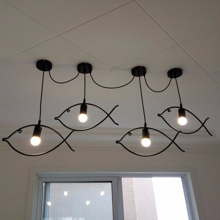 Trend Contemporary Edison Iron Fish Frame Pendant Lamp Cafe Bar Dining Room Couture LED Decorative Ceiling Hanging Lamp Home Decor Lighting