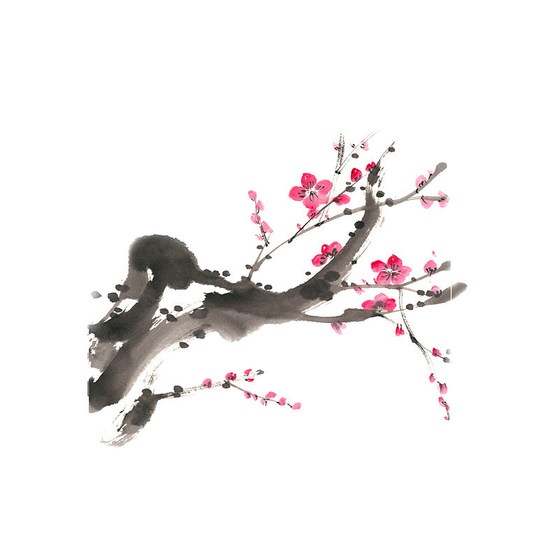Traditional 22.1*18.7CM Japanese Plum Cherry Blossom Branch Creative Toilet Tank Sticker Japan Home Wall Decor Decal Accessories