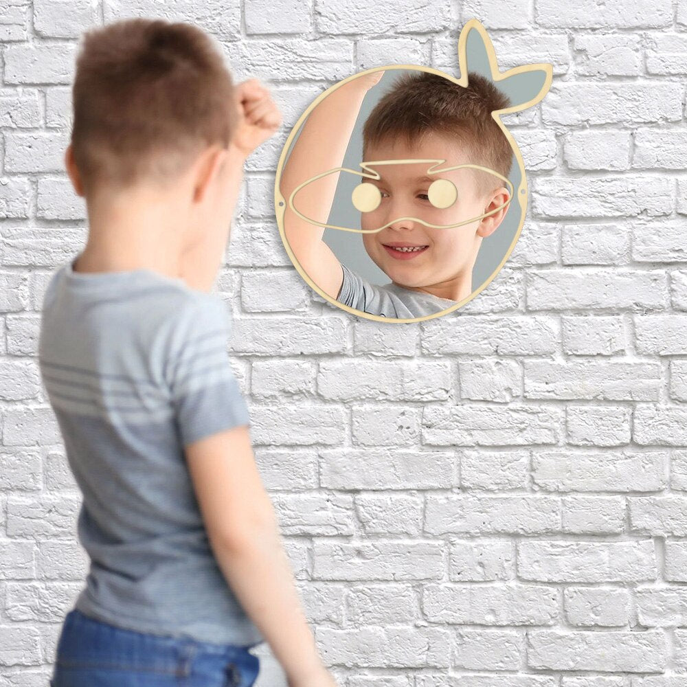 Trendy Japanese Ninja Warrior Fighter Wall Mirror Cartoon Decorative Mirrors Hanging Wood Acrylic Mirror Japan Wall Decor For Kid sAdults