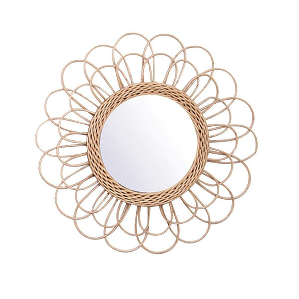 Trend Bohemian Hanging Mirror Rattan Sunflower Circular Wall Mirror Home Decor Boho Wicker Bedroom Dressing Makeup Mirrors