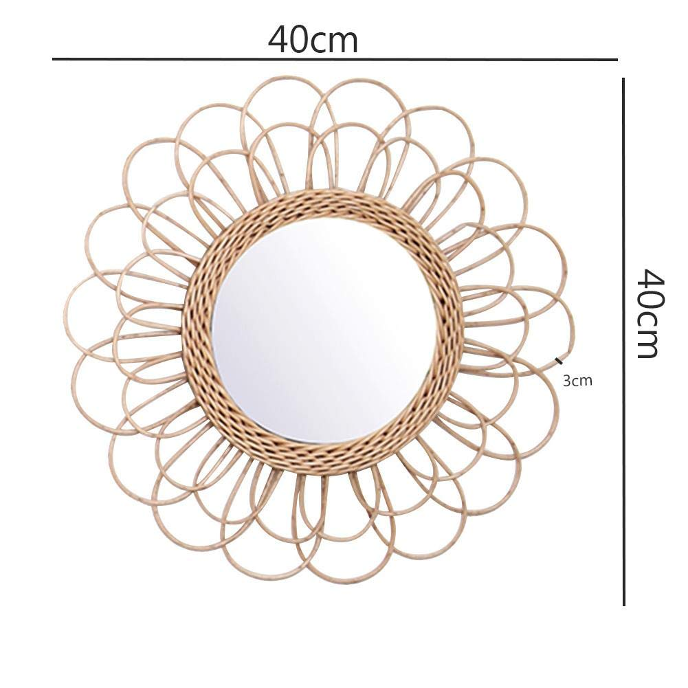 Bohemian Hanging Mirror Rattan Sunflower Circular Wall Mirror Home Decor Boho Wicker Bedroom Dressing Makeup Mirrors Size Chart