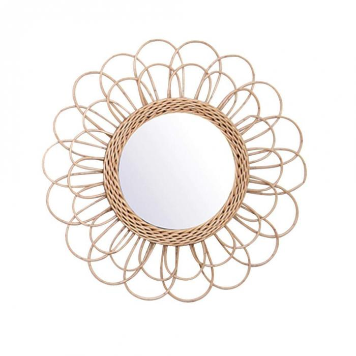 Bohemian Rattan Wicker Wall Mirror Home Decor Accessories