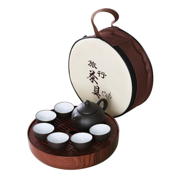 Japanese Zisha Travel Tea Sets Teapot Cups Plastic Tea Tray package China Kung Fu Tea Set Simple mini Portable carrying package outdoor travel Japan Tea Set