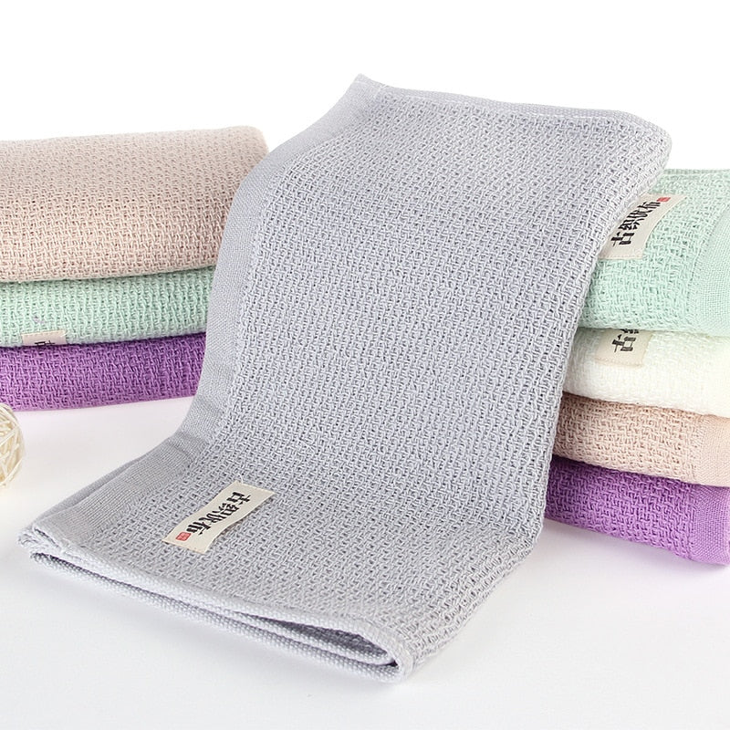 Trend Japanese 34x74cm Natural Light Gray / Grey Soft Cotton Face Towel Honeycomb Solid Color Bath Towels Japan Bathroom Linen Grey White Purple Green Towels