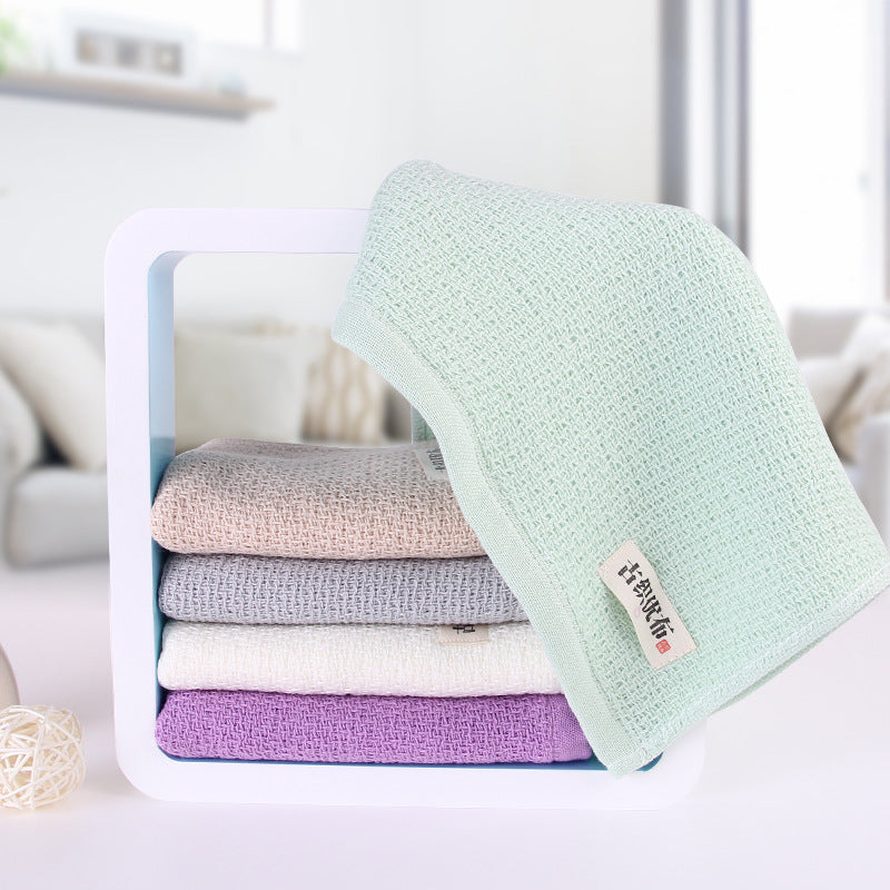 Trend Japanese 34x74cm Natural Soft Cotton Face Towel Honeycomb Solid Color Bath Towels Japan Bathroom Linen Grey White Purple Green Towels