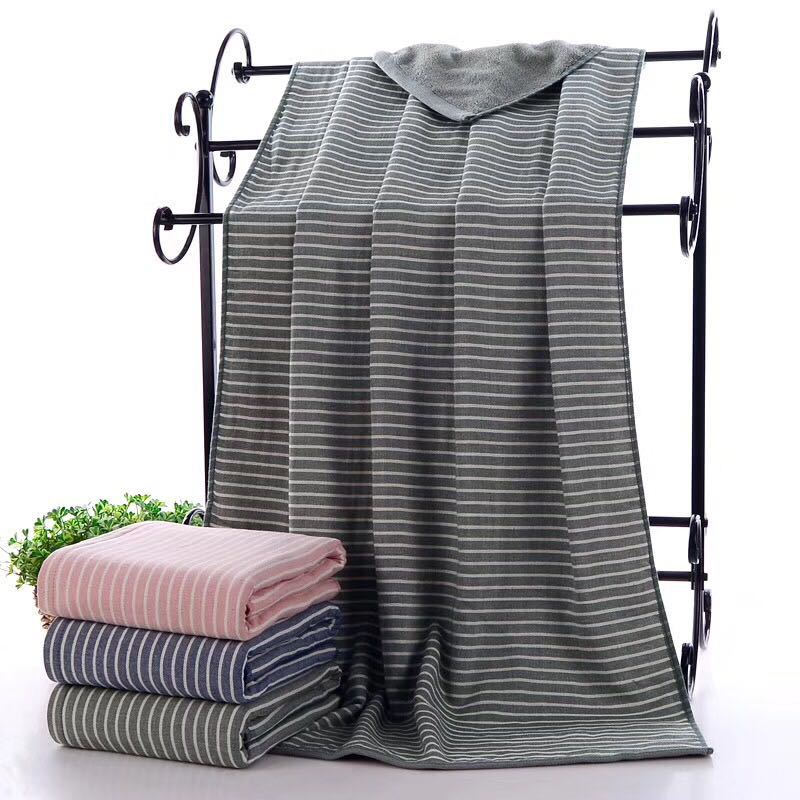 Gray / Grey Cotton Bath Towel Japanese Striped Fabric Large Towel Japan Stripe Bathroom Linen Bath Towels