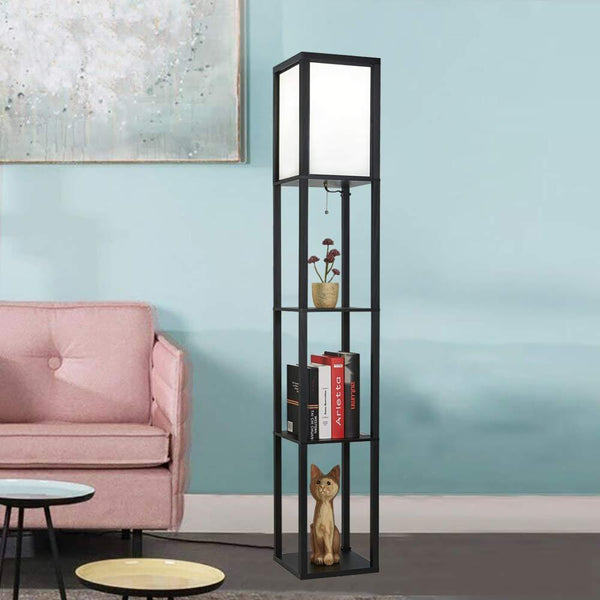 Japanese Wooden Shelf Floor Lamp