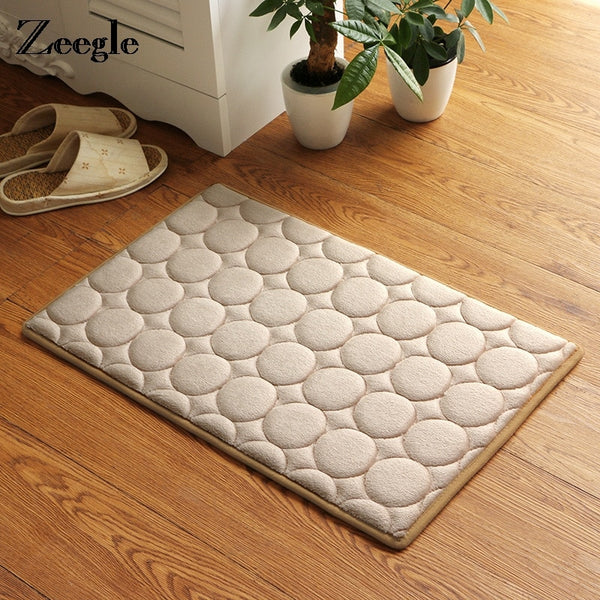 Trend Japanese Khaki Memory Foam Bath Mats Coral Anti-slip Bathroom Carpet Water Absorbing Shower Room Door Mats Foot Pad Washable Bathroom Bedside Rug Japan Home Decor Accessories