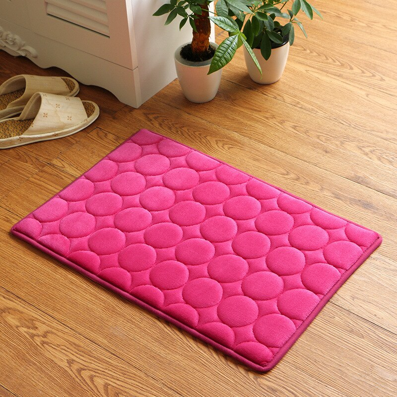 Japanese Rose Memory Foam Bath Mats Coral Anti-slip Bathroom Carpet Water Absorbing Shower Room Door Mats Foot Pad Washable Bathroom Bedside Rug Japan Home Decor Accessories