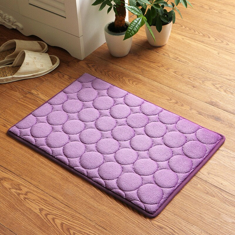 Japanese Purple Memory Foam Bath Mats Coral Anti-slip Bathroom Carpet Water Absorbing Shower Room Door Mats Foot Pad Washable Bathroom Bedside Rug Japan Home Decor Accessories