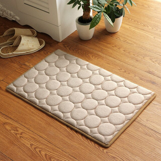 Japanese Khaki Memory Foam Bath Mats Coral Anti-slip Bathroom Carpet Water Absorbing Shower Room Door Mats Foot Pad Washable Bathroom Bedside Rug Japan Home Decor Accessories