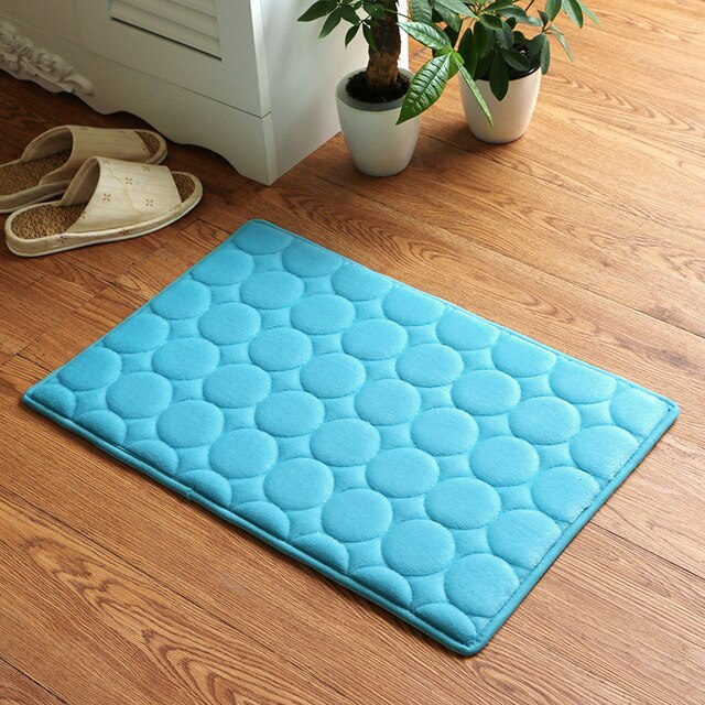 Japanese Blue Memory Foam Bath Mats Coral Anti-slip Bathroom Carpet Water Absorbing Shower Room Door Mats Foot Pad Washable Bathroom Bedside Rug Japan Home Decor Accessories