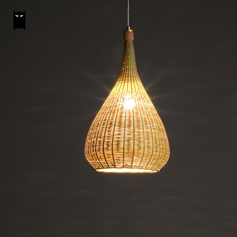 Trending Original Bamboo Wicker Rattan Lampshade Hand-Woven Craft Round Funnel Pendant Lamp Light Fixture Asian Rustic Japanese Lamp Design Japan Home Decor Lighting Fixtures Accessories