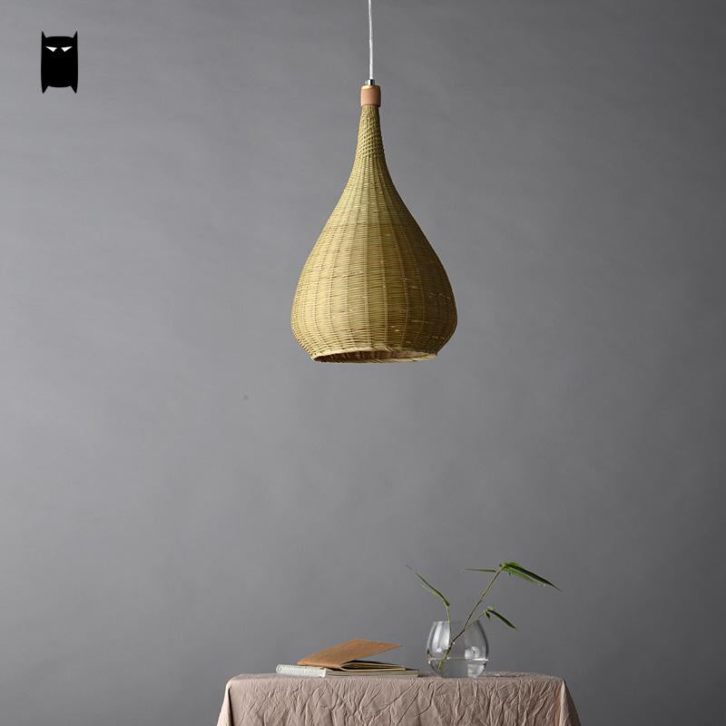 Trendy Original Bamboo Wicker Rattan Lampshade Hand-Woven Craft Round Funnel Pendant Lamp Light Fixture Asian Rustic Japanese Lamp Design Japan Home Decor Lighting Fixtures Accessories