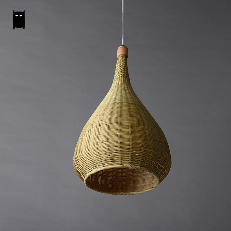 Original Bamboo Wicker Rattan Lampshade Hand-Woven Craft Round Funnel Pendant Lamp Light Fixture Asian Rustic Japanese Lamp Design Japan Home Decor Lighting Fixtures Accessories Style