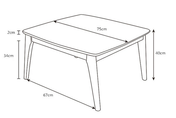 Japanese Oak Wood Kotatsu Table Size Chart