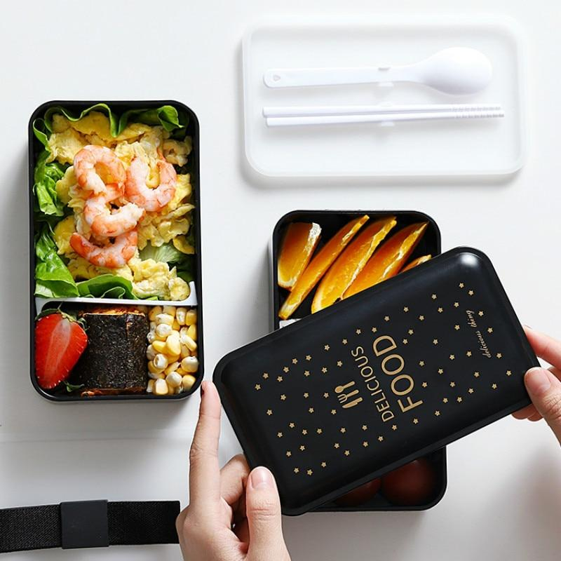 1200ML Japanese Bento Lunch box Microwavable Food container Double layer Portable Japan Bento box  with compartments Leakproof BPA free Fashion Style