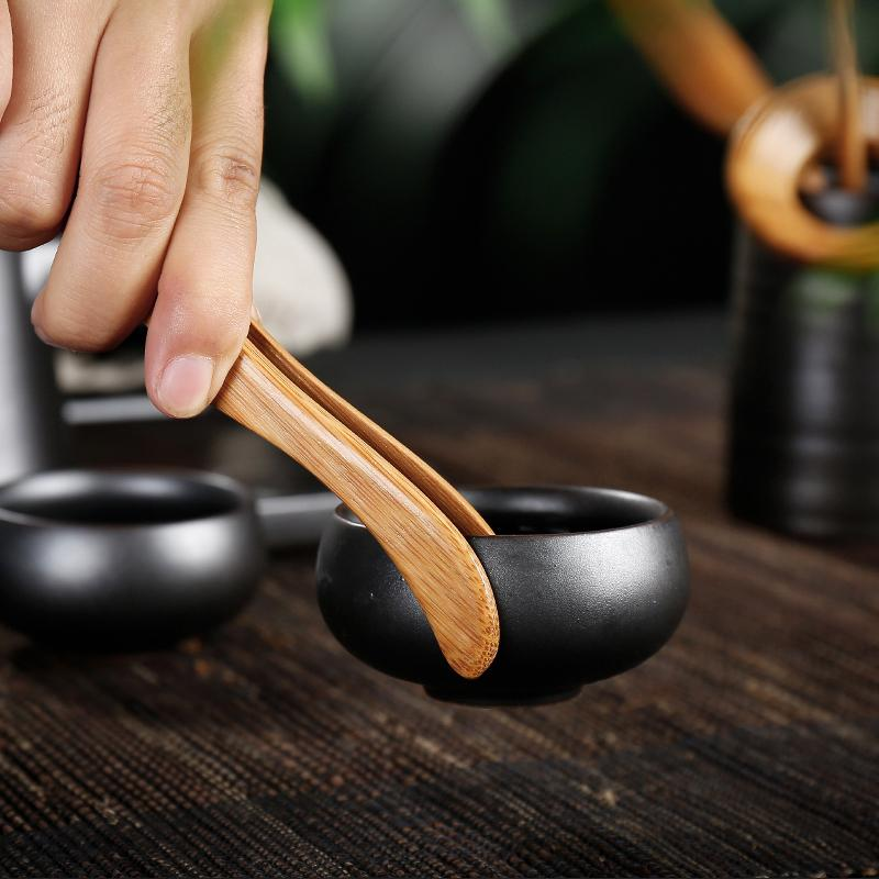 Trendy Japanese Black Ceramic Tea Ceremony Sets Chinese kung fu tea accessories set Japan coffee and tea tool Detail