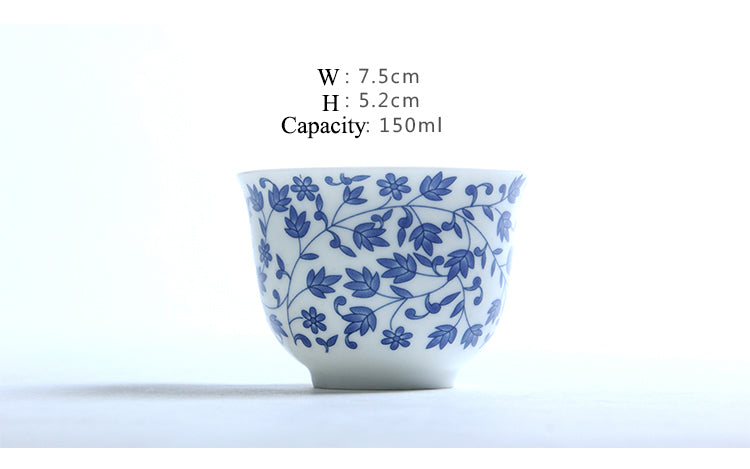 Japanese blue and white ceramic Sake teacup Porcelain tea cup Japan Household Capacity 150ml Size Chart