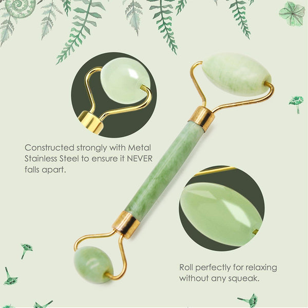 Double Natural Head Facial Massage Roller Jade Face Slimming Body Head Neck Device