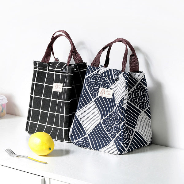Japanese Lattice Print Lunch Bag Portable Cooler Insulated Picnic Bento Lunch Bag Tote Travel Fruit Drink Food Japan Fresh Organizer Accessories