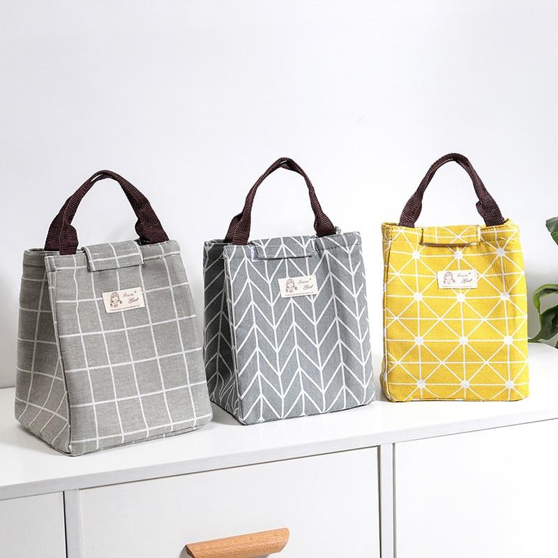 Trendy Japanese Lattice Print Lunch Bag Portable Cooler Insulated Picnic Bento Lunch Bag Tote Travel Fruit Drink Food Japan Fresh Organizer Accessories