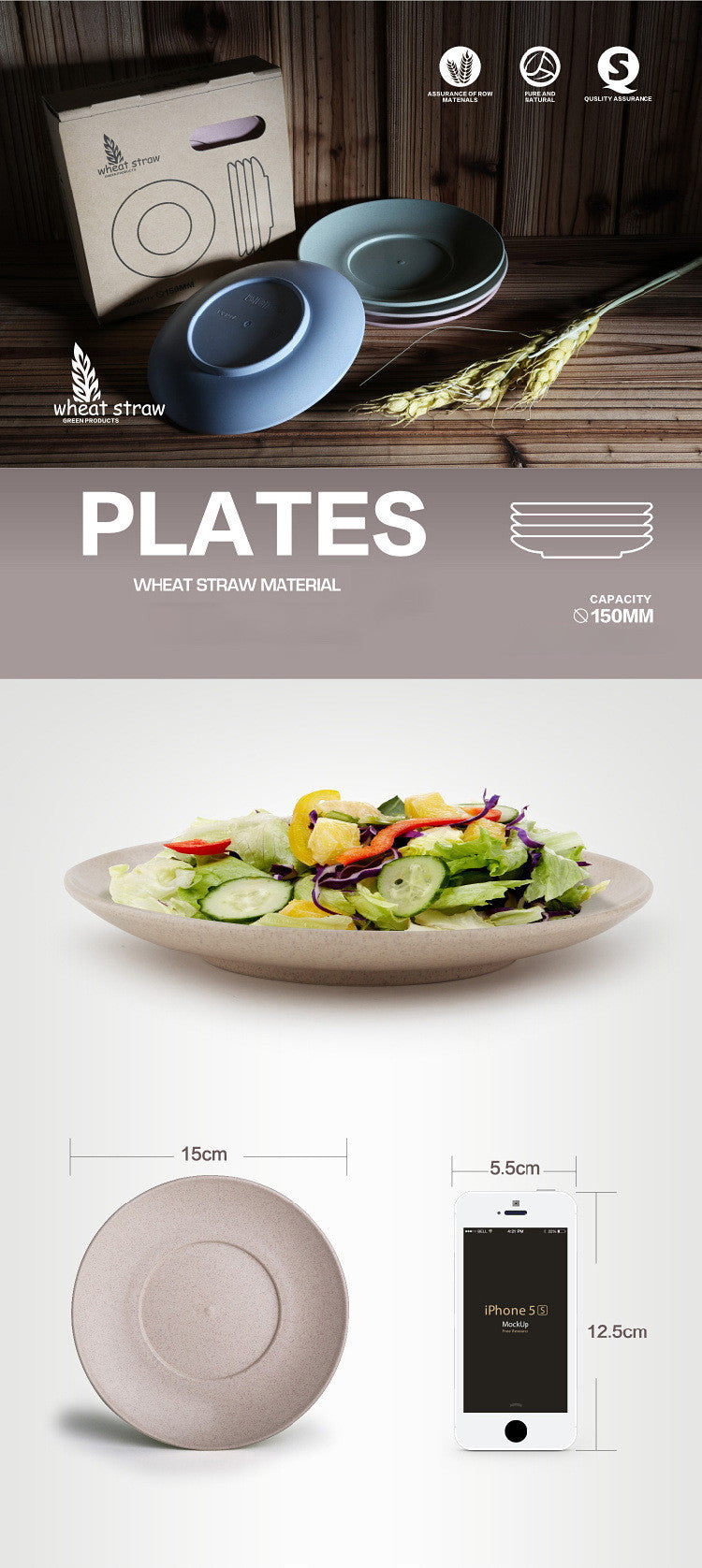 4 Set Eco-friendly Wheat Straw Plates