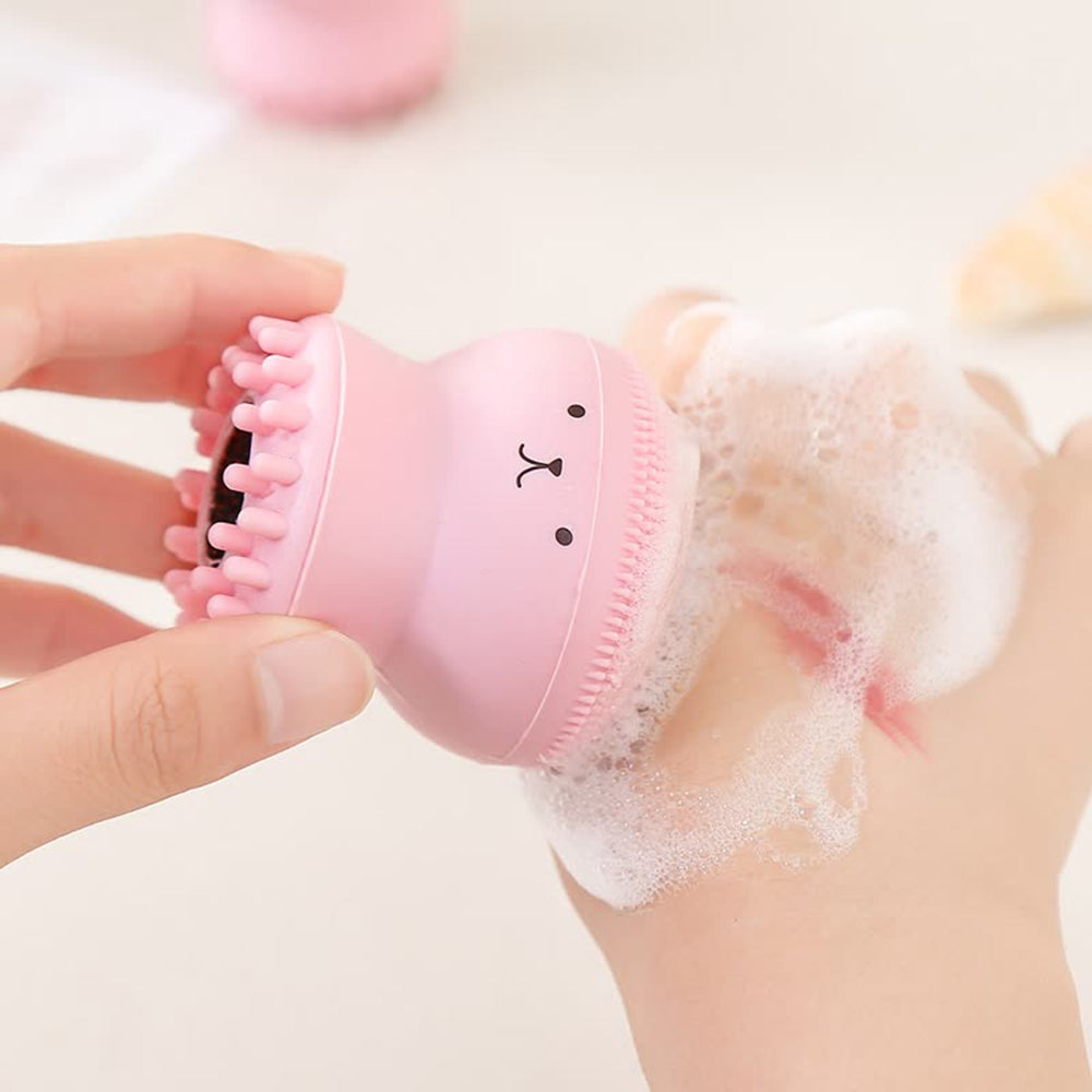 Trend Baby Bath Brushes Child Face Exfoliating Facial Cleaning Brush Babies Shower Bathing Silica Gel Pad Body Scrub Bath Accessories