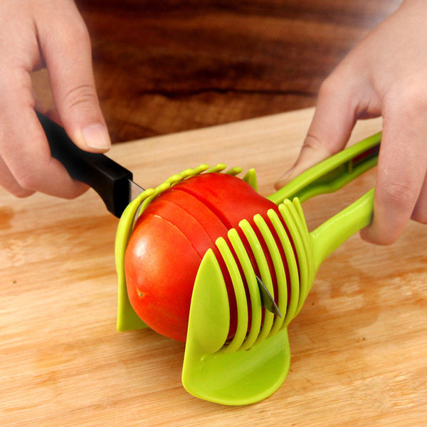 Tomato Cutter Tool Lemon Cutting Holder Plastic Potato Slicer Shredders Cooking Kitchen Accessories Tools