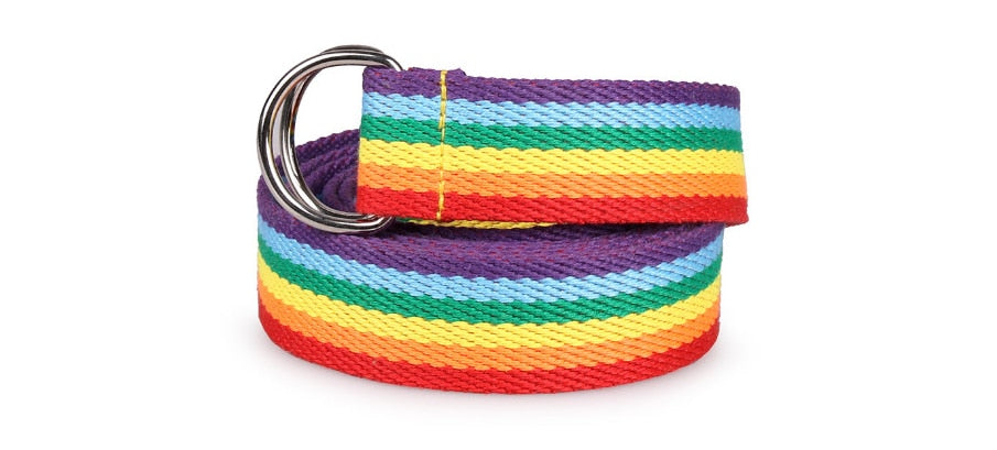 Trendy Multicolor Rainbow Colors Exquisite Waist Belt Pretty Multicolour Canvas Thin Skinny Belts Accessory Trendy