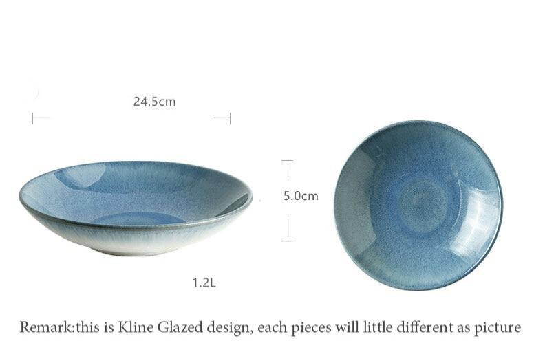 Ceramic bowl kiln glaze blue Japanese 9-inch shallow soup bowl pasta salad bowls Size Information