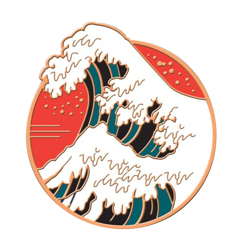 The Great Wave Enamel Pin  Lapel Pins Japan Broach Trendy