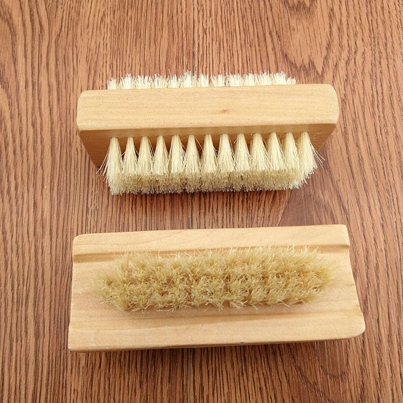 Nail Art Trimming Bristle Brush Wooden Double Sided Handle Nylon Bristle Manicure Pedicure Scrubbing Nail Bath Brush Skincare Trendy