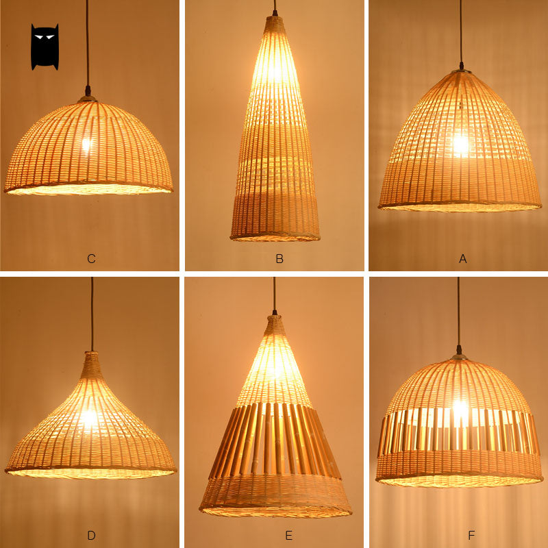 Bamboo Wicker Rattan Variety Shade Pendant Light Fixture Rustic Japanese Tatami Suspended Lamp Dining Room Hallway Japan Lighting Fixtures Home Decor Accessories Detail