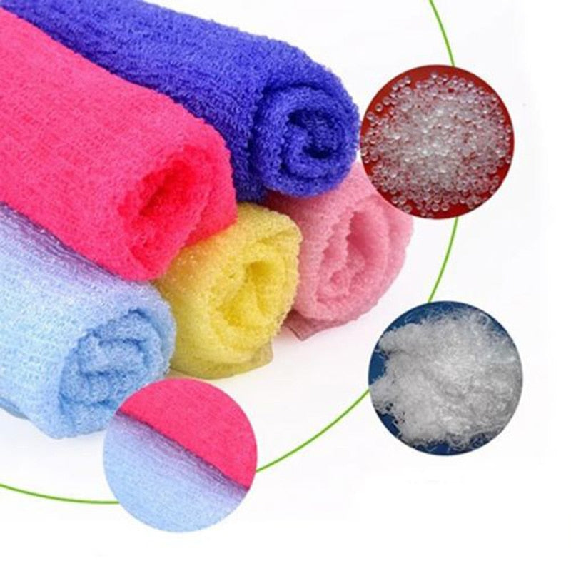 Nylon Wash Cloth Body Scrub Bath Towel Beauty Body Skin Exfoliating Shower Bathroom Washing Bath Accessories