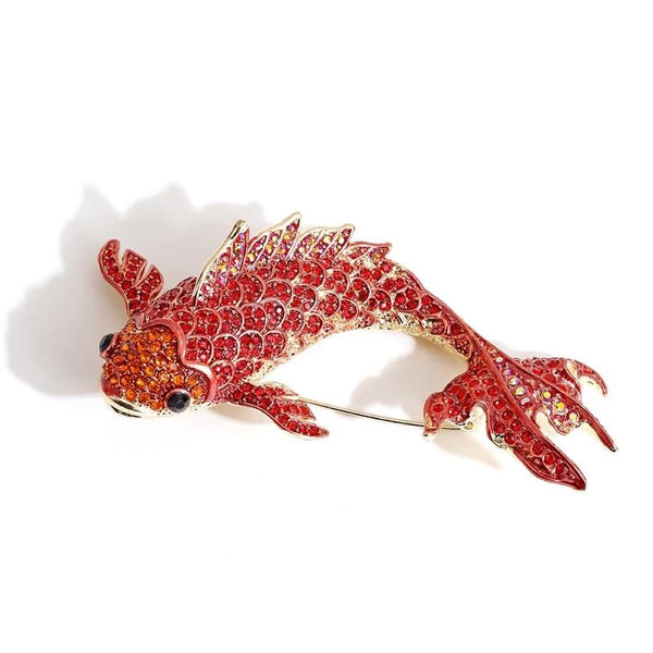 Koi Carp Fish Rhinestone Brooch Pin Jewelry Vintage Banquet Big Brooches for Women Crystal Pins And Brooches Accessories