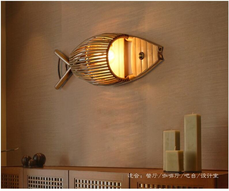 Trend Japanese Country Style Handmade Creative Bamboo Fish Led Wall Lamp for Dining Room Restaurant Bar Aisle Japan Home Decor Lighting Fixtures Accessories Style