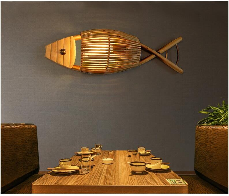 Japanese Country Style Handmade Creative Bamboo Fish Led Wall Lamp for Dining Room Restaurant Bar Aisle Japan Home Decor Lighting Fixtures Accessories Style