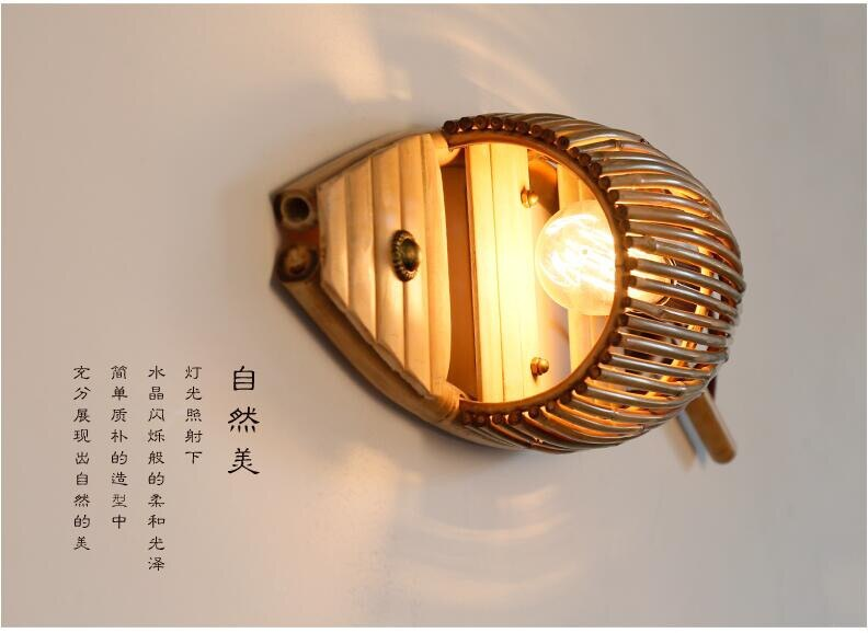 Japanese Handmade Bamboo Fish Wall Lamp