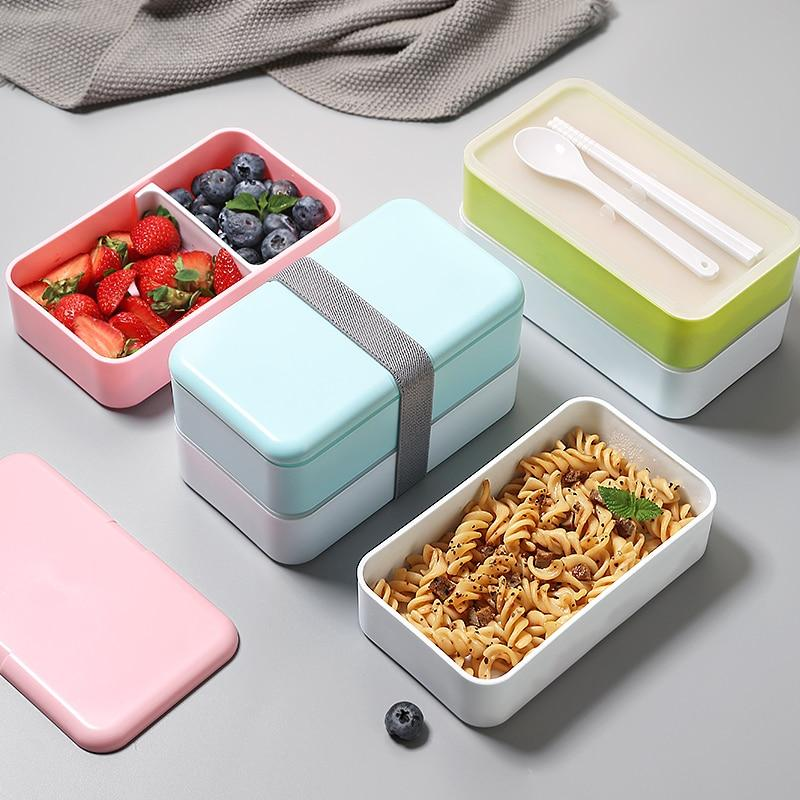 Trending 1200ML Japanese Bento Lunch box Microwavable Food container Double layer Portable Japan Bento box  with compartments Leakproof BPA free Fashion