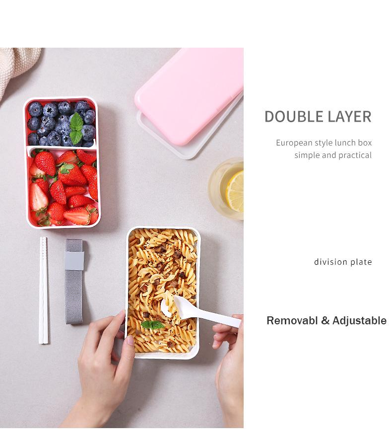 Trend 1200ML Japanese Bento Lunch box Microwavable Food container Double layer Portable Japan Bento box  with compartments Leakproof BPA free Fashion is Style