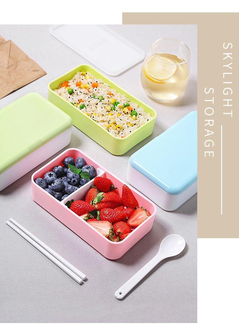 Trendy 1200ML Japanese Bento Lunch box Microwavable Food container Double layer Portable Japan Bento box  with compartments Leakproof BPA free