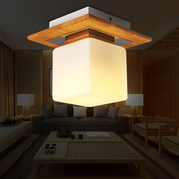 Japanese wood cubes ceiling light Modern minimalist home porch balcony corridor hallway small glass Ceiling Lamps Japan Home Decor Lighting Accessories