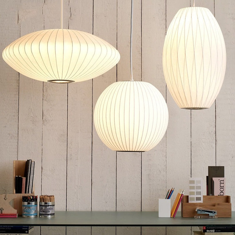 Trending Japanese Silk Lustre Pendant Lights Staircase Dining Hall Bar Pendent Lamp Industrial Lamps Japan Home Decor Lighting Fixtures Accessories