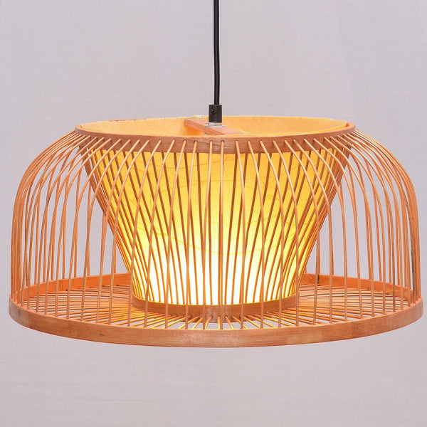South Asian Bamboo Wicker Dining Room Pendant Lamp Hand-Made Japanese Restaurant Pendant Lights Country Rustic Hanging Lamps Japan Home Decor Lighting Accessories
