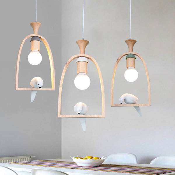 Japanese Wooden Resin Bird Led Pendant Lights Nordic Restaurant Decoration Hanging Lamp Bar Kitchen Indoor Pendant Lamp Cord Suspension Japan Home Decor Lighting Accessories