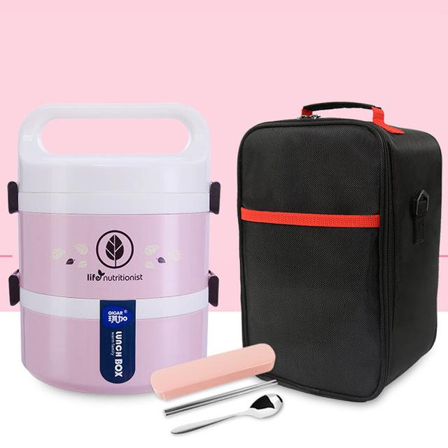Trendy Leakproof Microwave Lunchbox Plastic Kids Food Storage Containers Stainless Steel Japanese Pink Bento Lunch Box Set Thermos Thermal Insulated Japan