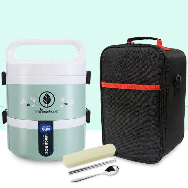 Trendy Leakproof Microwave Lunchbox Plastic Kids Food Storage Containers Stainless Steel Japanese Green Bento Lunch Box Set Thermos Thermal Insulated Japan