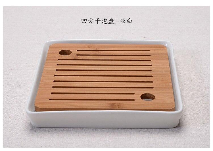 Trendy Bamboo ceramic tea tray Japanese tea ceremony kung fu tea set trays round heavy bamboo tray water storage Japan home leisure tea trays