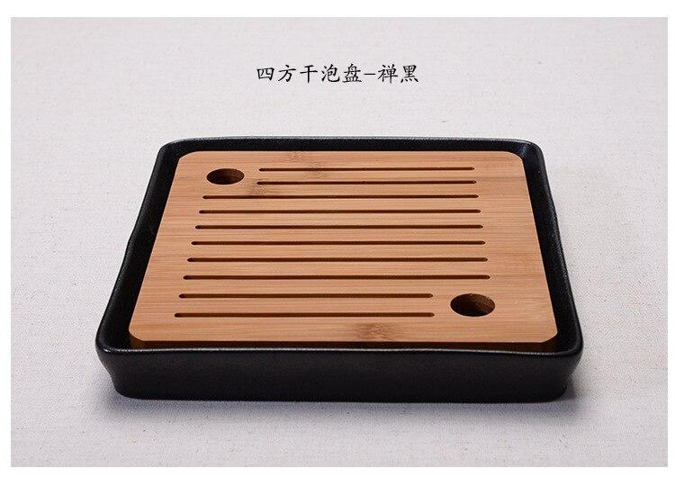 Trendy Bamboo Black ceramic tea tray Japanese tea ceremony kung fu tea set trays round heavy bamboo tray water storage Japan home leisure tea trays